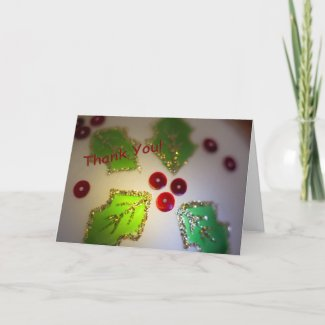 Holly and Berry Ornament Thank You Card card