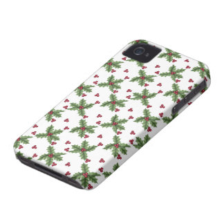 Holly and Berry Pattern Christmas Holiday iPhone 4 Case-Mate Case