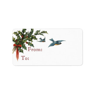 Holly and Birds Christmas Gift Tags Address Label