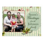 Holly and Bows Photo Christmas Postcard
