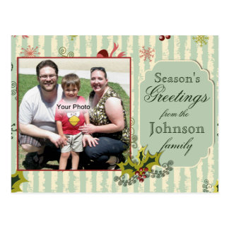 Holly and Bows Photo Christmas Postcard