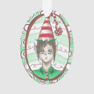 Holly and Candy Stripe Christmas Elf Art Ornament