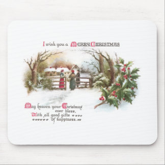 Holly and Chat by Gate Vintage Christmas Mouse Pad