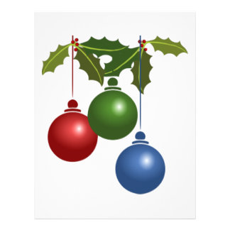 Holly and Christmas Ornaments Design Flyer