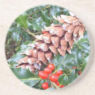 Holly and Cone Sandstone Coaster