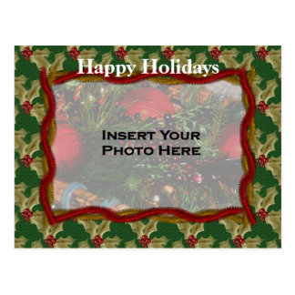 Holly And Garland Christmas Holiday Photo Postcard