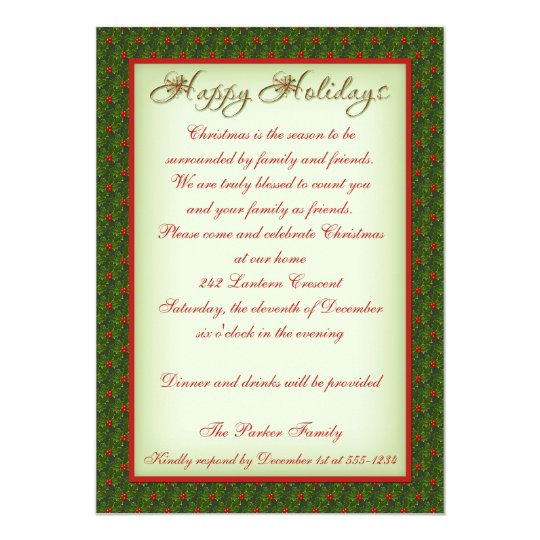 Holly and Ivy Christmas Party Invitation