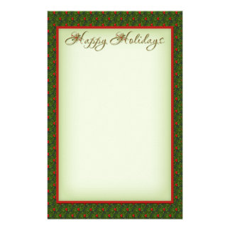 Holly and Ivy Happy Holidays Christmas Stationery
