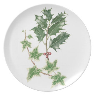 Holly and Ivy Sprig Botanical Watercolour Melamine Plate