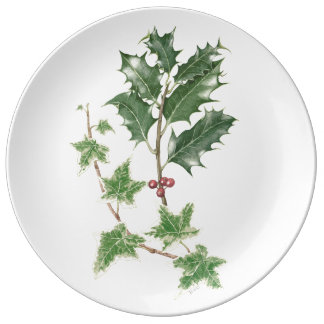 Holly and Ivy Sprig Botanical Watercolour Porcelain Plate