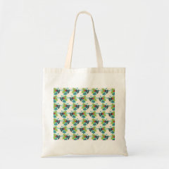 Holly and Jingle Bells Retro Christmas Pattern Tote Bags