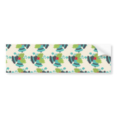 Holly and Jingle Bells Retro Christmas Pattern Bumper Stickers