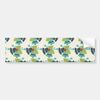 Holly and Jingle Bells Retro Christmas Pattern Bumper Sticker