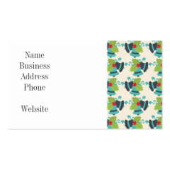 Holly and Jingle Bells Retro Christmas Pattern Business Card Templates