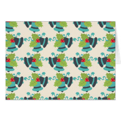 Holly and Jingle Bells Retro Christmas Pattern Card