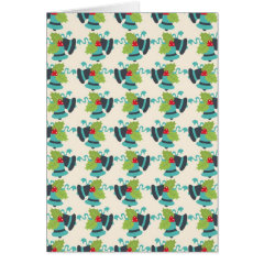 Holly and Jingle Bells Retro Christmas Pattern Greeting Card