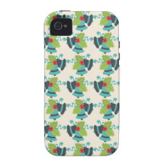 Holly and Jingle Bells Retro Christmas Pattern Case For The iPhone 4
