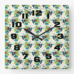 Holly and Jingle Bells Retro Christmas Pattern Square Wallclock