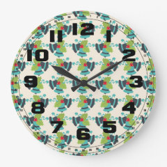 Holly and Jingle Bells Retro Christmas Pattern Round Wall Clock