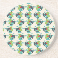 Holly and Jingle Bells Retro Christmas Pattern Beverage Coasters