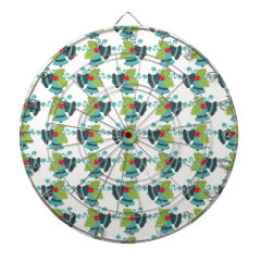Holly and Jingle Bells Retro Christmas Pattern Dart Board