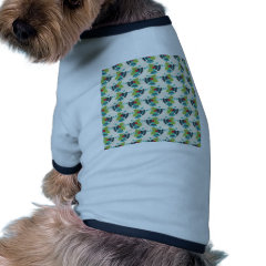 Holly and Jingle Bells Retro Christmas Pattern Doggie T-shirt