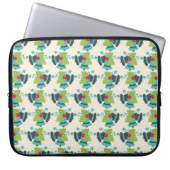 Holly and Jingle Bells Retro Christmas Pattern Laptop Computer Sleeve