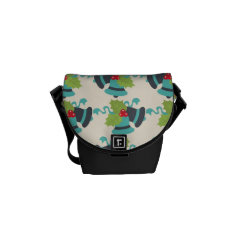Holly and Jingle Bells Retro Christmas Pattern Courier Bags