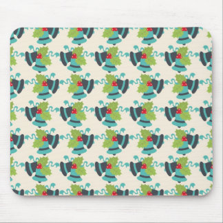 Holly and Jingle Bells Retro Christmas Pattern Mouse Pad