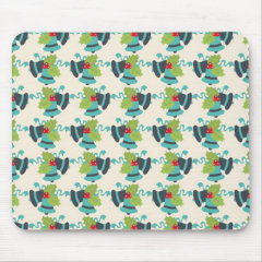 Holly and Jingle Bells Retro Christmas Pattern Mouse Pads