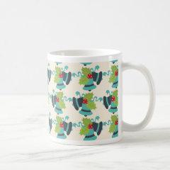 Holly and Jingle Bells Retro Christmas Pattern Coffee Mug