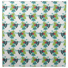 Holly and Jingle Bells Retro Christmas Pattern Printed Napkin