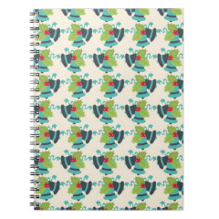 Holly and Jingle Bells Retro Christmas Pattern Spiral Note Books