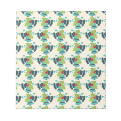 Holly and Jingle Bells Retro Christmas Pattern Notepads