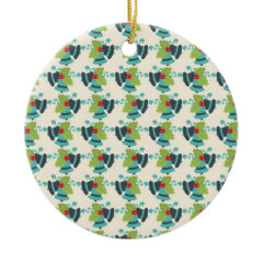 Holly and Jingle Bells Retro Christmas Pattern Christmas Ornament