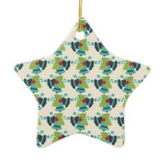 Holly and Jingle Bells Retro Christmas Pattern Ornaments