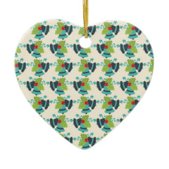 Holly and Jingle Bells Retro Christmas Pattern Christmas Tree Ornaments