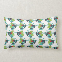 Holly and Jingle Bells Retro Christmas Pattern Pillow