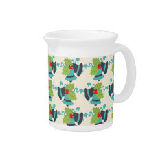 Holly and Jingle Bells Retro Christmas Pattern Beverage Pitchers