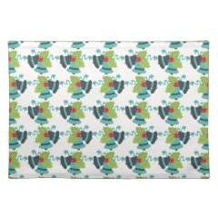 Holly and Jingle Bells Retro Christmas Pattern Place Mats