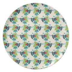 Holly and Jingle Bells Retro Christmas Pattern Plates