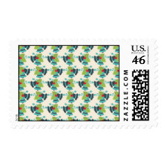 Holly and Jingle Bells Retro Christmas Pattern Postage