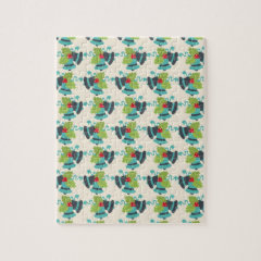 Holly and Jingle Bells Retro Christmas Pattern Puzzle