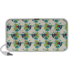 Holly and Jingle Bells Retro Christmas Pattern Travelling Speaker