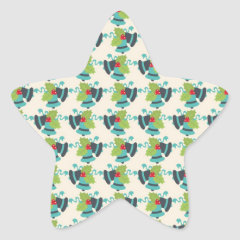 Holly and Jingle Bells Retro Christmas Pattern Star Stickers