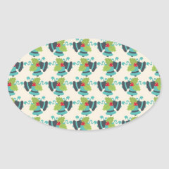 Holly and Jingle Bells Retro Christmas Pattern Oval Stickers