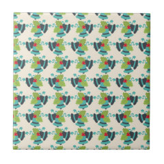 Holly and Jingle Bells Retro Christmas Pattern Ceramic Tiles