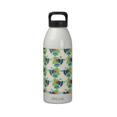 Holly and Jingle Bells Retro Christmas Pattern Drinking Bottle
