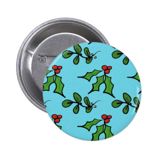 Holly and Mistletoe Button