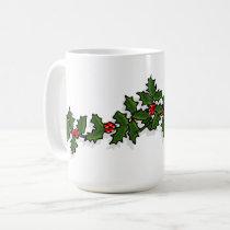 Holly and Mistletoe Christmas Mug